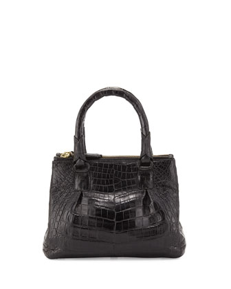 Crocodile Mini Double-Zip Crossbody Bag, Black