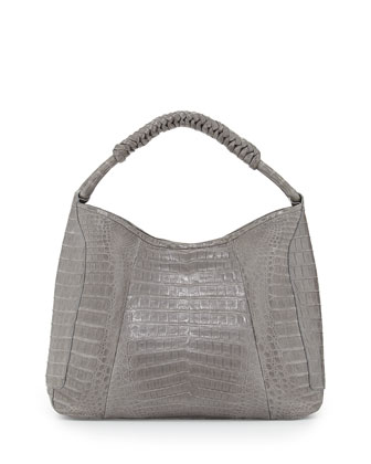 Crocodile Medium Spiral-Wrapped Hobo Bag, Gray