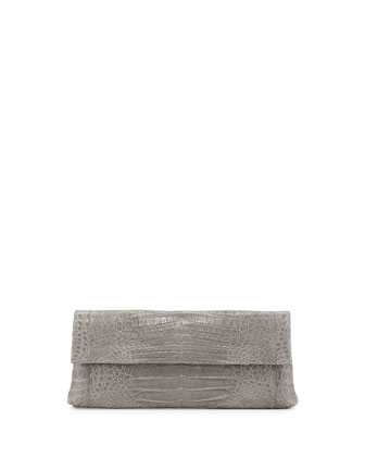 Back-Pocket Crocodile Clutch Bag, Gray