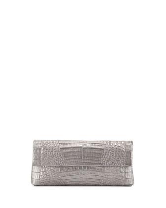 Back-Pocket Metallic Crocodile Clutch Bag, Gray