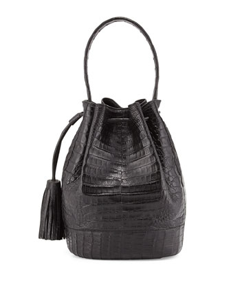 Large Crocodile Tassel Bucket Bag, Black