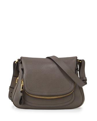 Jennifer Medium Leather Shoulder Bag, Gray