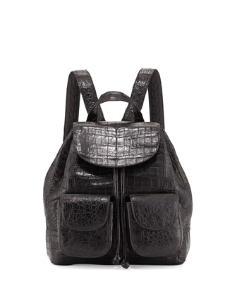 Small Two-Pocket Crocodile Backpack, Black