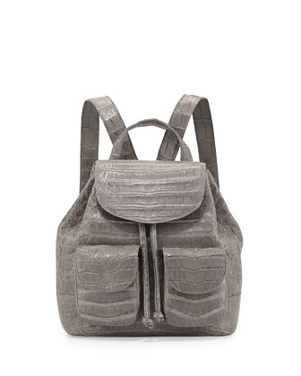 Small Two-Pocket Crocodile Backpack, Gray