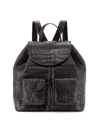 Large Two-Pocket Crocodile Backpack, Black