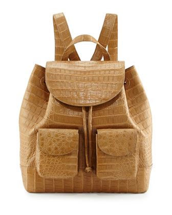 Large Two-Pocket Crocodile Backpack, Tan
