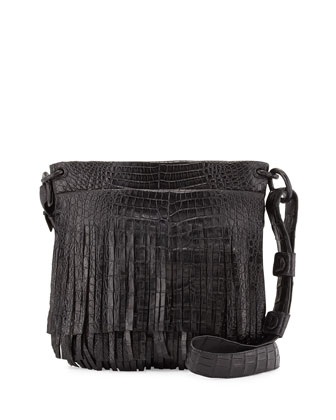Crocodile Fringe Messenger Bag, Black