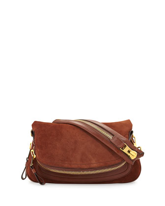 Jennifer Medium Suede/Leather Shoulder Bag, Brown