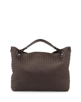 Medium Double Shoulder Bag, Dark Brown