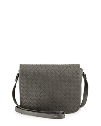 Small Woven Flap Crossbody Bag, Light Gray
