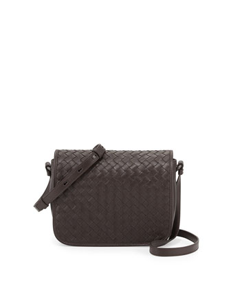Woven Flap Crossbody Bag, Dark Brown