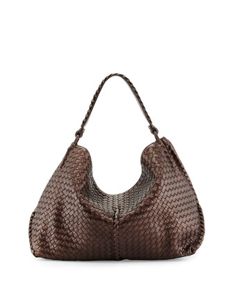 Cervo Open Woven Shoulder Bag, Dark Brown