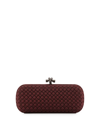 Faille Intrecciato Knot Clutch Bag, Burgundy