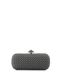 Faille Stretch Knot Minaudiere, Light Gray