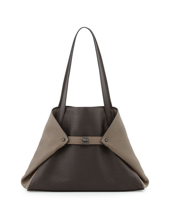 Ai Small Bicolor Leather Shoulder Tote Bag, Dark Brown
