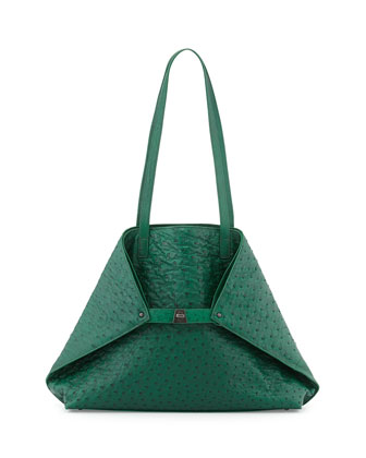 Ai Medium Ostrich Shoulder Tote Bag, Green