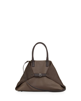 Ai Small Bicolor Tote Bag, Dark Brown
