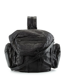 Marti Convertible Leather Backpack, Raisin