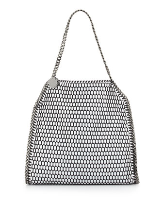 Falabella Small Net Tote Bag, Black/White