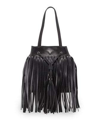 Soft Calf Leather Fringe Bucket Bag, Black (Nero)