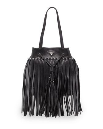 Soft Calf Leather Fringe Bucket Bag, Black (Nero)