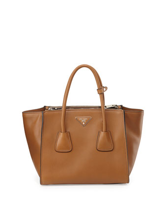 City Leather Twin Pocket Tote Bag, Light Brown (Caramel)