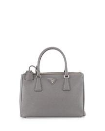 Saffiano Small Executive Tote Bag with Strap, Light Gray (Pomice)