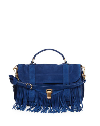PS1 Medium Fringe Satchel Bag, Blue