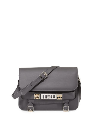 PS11 Classic Calfskin Shoulder Bag, Gray
