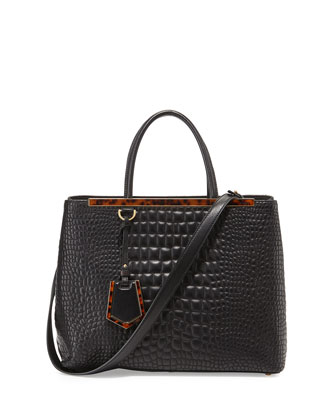 2Jours Medium Croc-Stitched Shopping Tote Bag, Black
