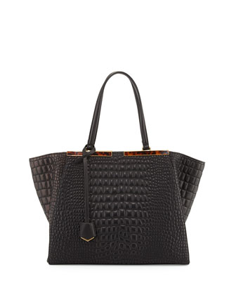 Trois-Jour Croc-Embroidered Tote Bag, Black