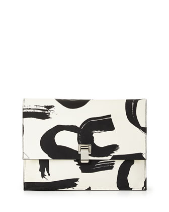 Large Printed Lunch Bag Clutch, Black/White