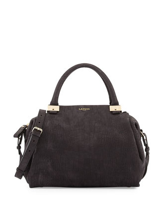 Trilogy Croc-Embossed Bowler Bag, Black