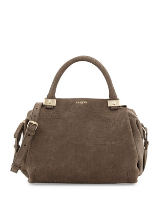 Trilogy Croc-Embossed Bowler Bag, Gray