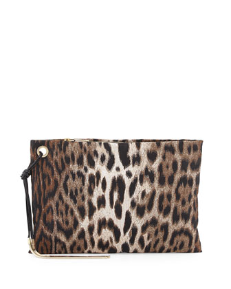 Leopard Jacquard Medium Zip Pouch, Multi