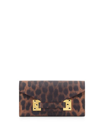 Fine Leather Envelope Wallet, Leopard