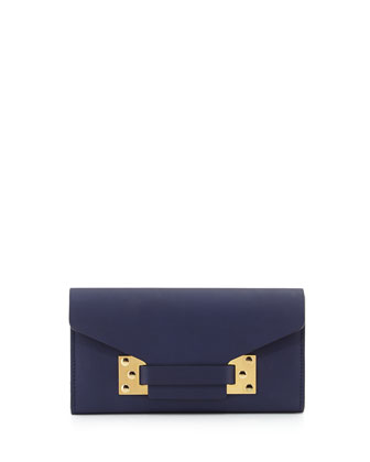 Fine Leather Envelope Wallet, Navy