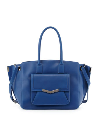 Jo Leather Pocket Tote Bag, Blue