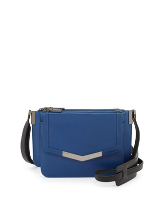 Trilogy Mini Leather Crossbody Bag, Blue