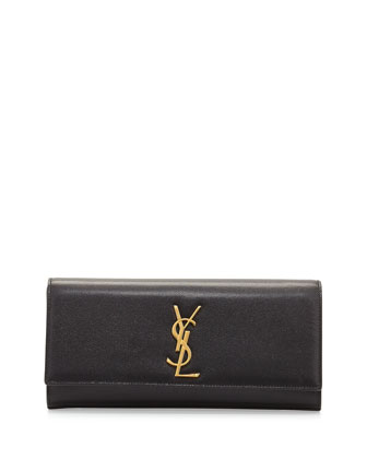 Monogramme Grained Calfskin Clutch Bag, Black