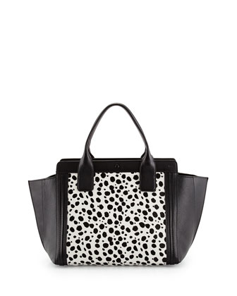 Alison Small Spotted Combo Tote Bag, Black/White
