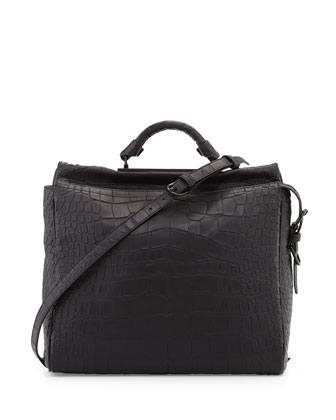 Ryder Croc-Embossed Satchel Bag, Black