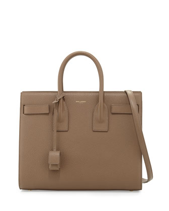 Sac de Jour Small Grained Leather Tote Bag, Taupe