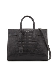 Sac de Jour Small Croc-Embossed Leather Tote Bag, Black