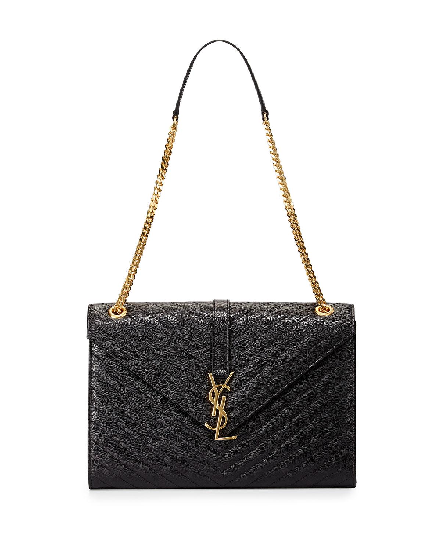 Saint Laurent Monogram Matelasse Shoulder Bag, Black, Men's