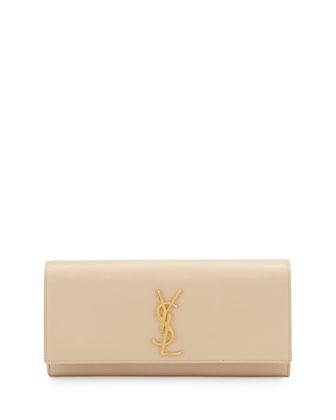 Cassandre Calfskin Clutch Bag, Cream