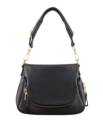 Jennifer Medium Calfskin Shoulder Bag, Black