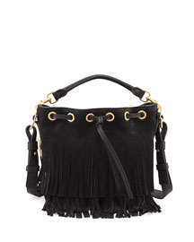 Small Suede Fringe Bucket Bag, Black