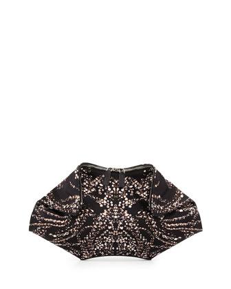 De-Manta Jewel-Print Silk Clutch Bag, Black