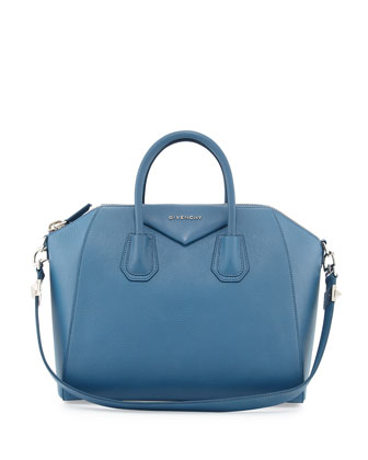Antigona Medium Sugar Satchel Bag, Blue